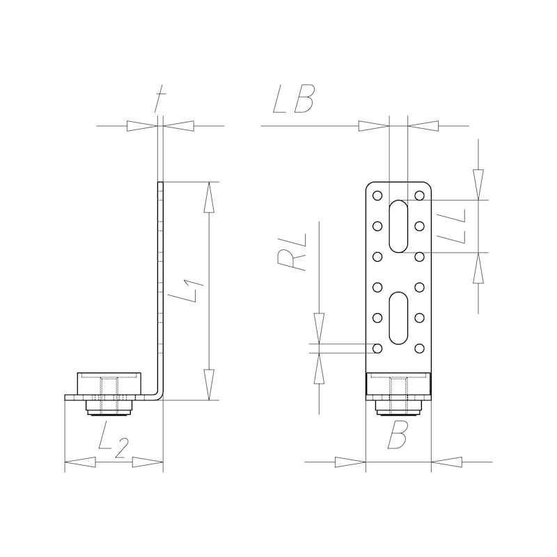 VARIFIX<SUP>® </SUP>Luftkanal-Montagewinkel Form L - C2C - 2