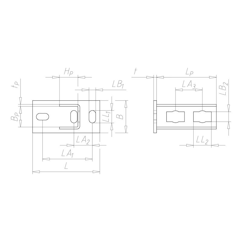 Pied de profilé VARIFIX<SUP>®</SUP> pour système de bouton de puissance 41 - C2C - 1