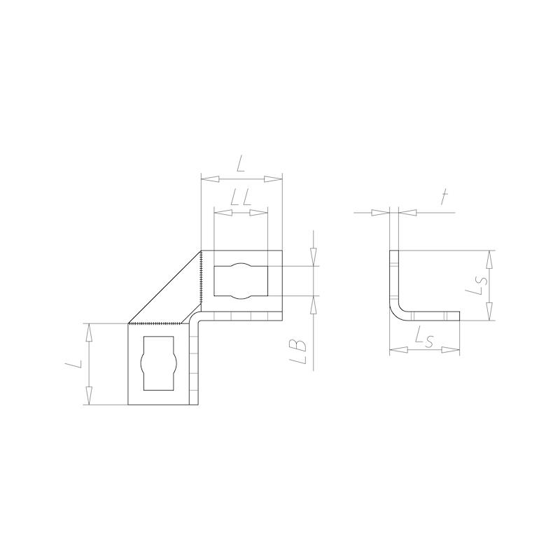 VARIFIX<SUP>®</SUP> Winkelverbinder 90° mit 4 Langlöchern für Powerknopf System 41 - 2