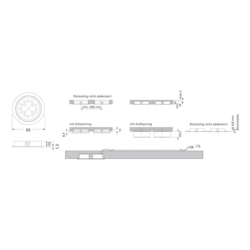 LED-Einbauleuchte EHW 13 - LEUCHT-LED-EHW13-VA-LD2-CW