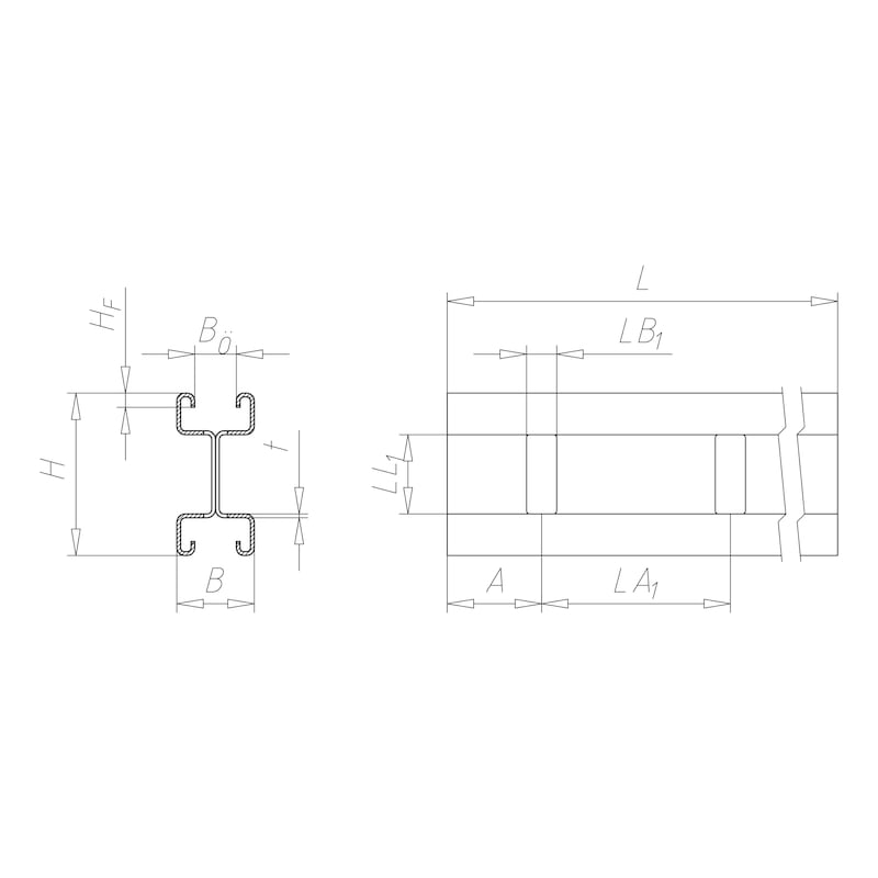 VARIFIX<SUP>® </SUP>C-Montageschiene 41/86 - C2C - 2