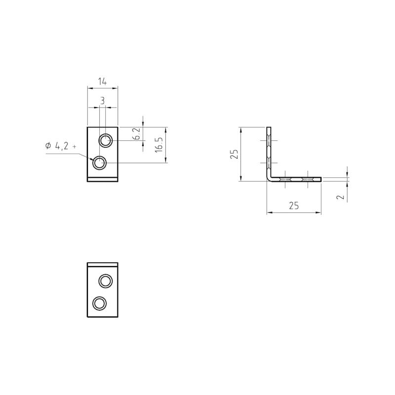 Stuhl- und Kistenwinkel - STUHL/KISTENWNKL-(A2K)-25/25MM