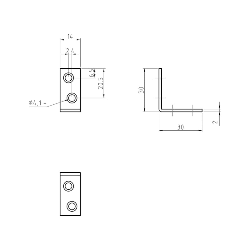 Chair and box angle bracket - CHR/CABBRKT-(A2K)-30/30MM