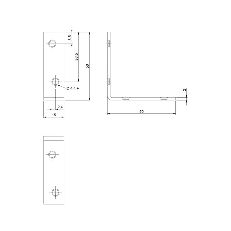 Stuhl- und Kistenwinkel - STUHL/KISTENWNKL-(A2K)-50/50MM