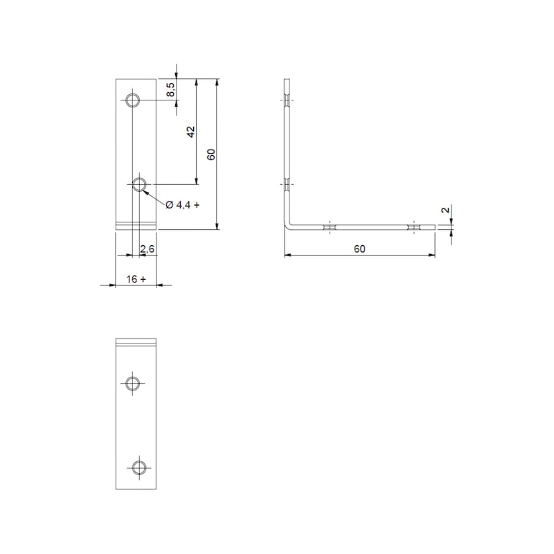 Chair and box angle bracket - CHR/CABBRKT-(A2K)-60/60MM