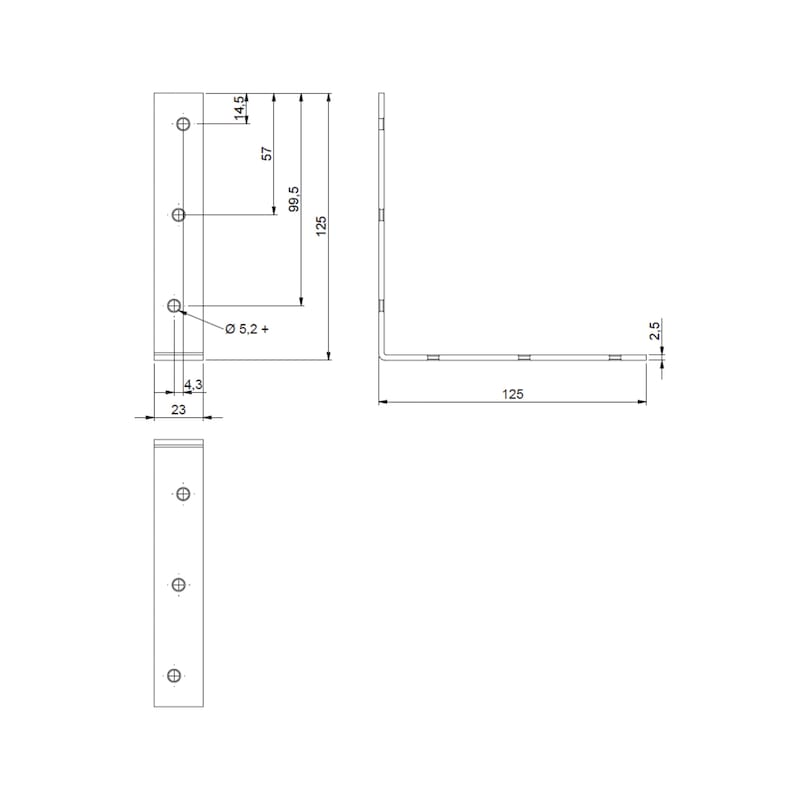 Chair and box angle bracket - BRKT-CHR/CAB-(A2K)-125/125MM