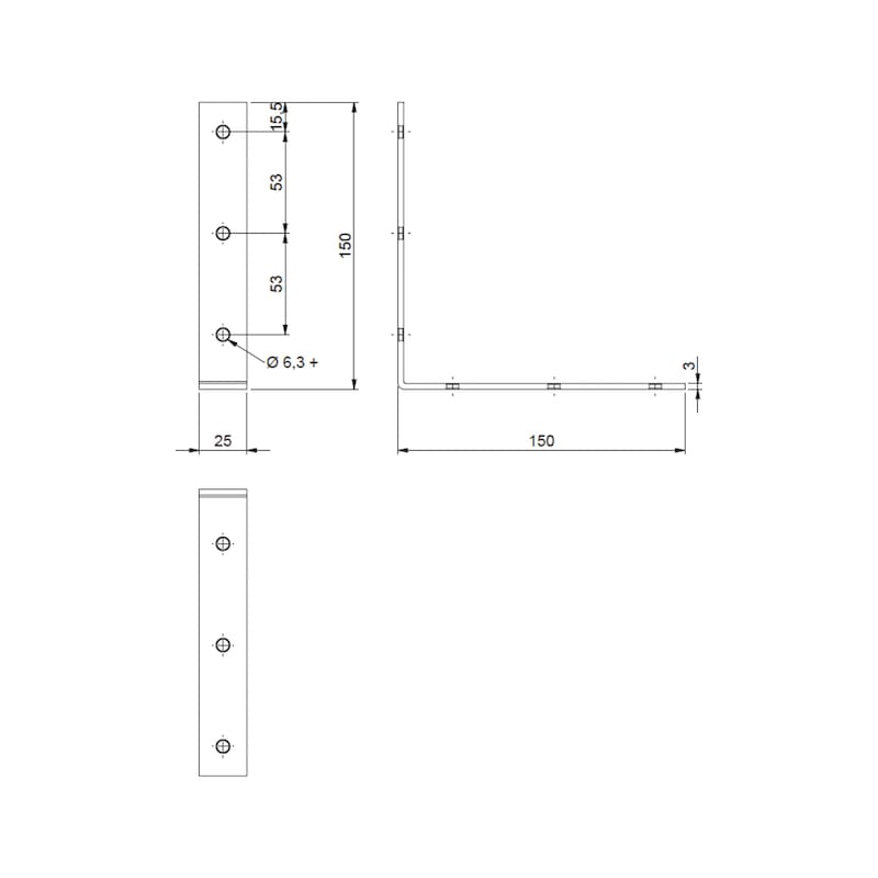 Chair and box angle bracket - BRKT-CHR/CAB-(A2K)-150/150MM
