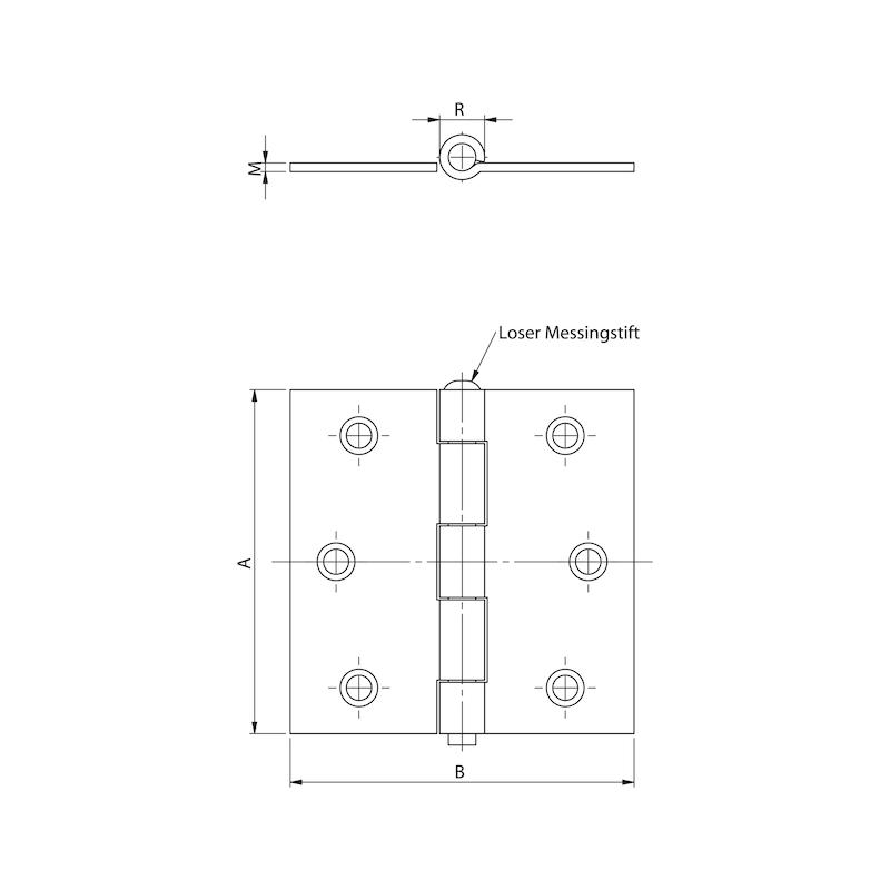 Gerolltes Scharnier mit losem Stift quadratisch - 2