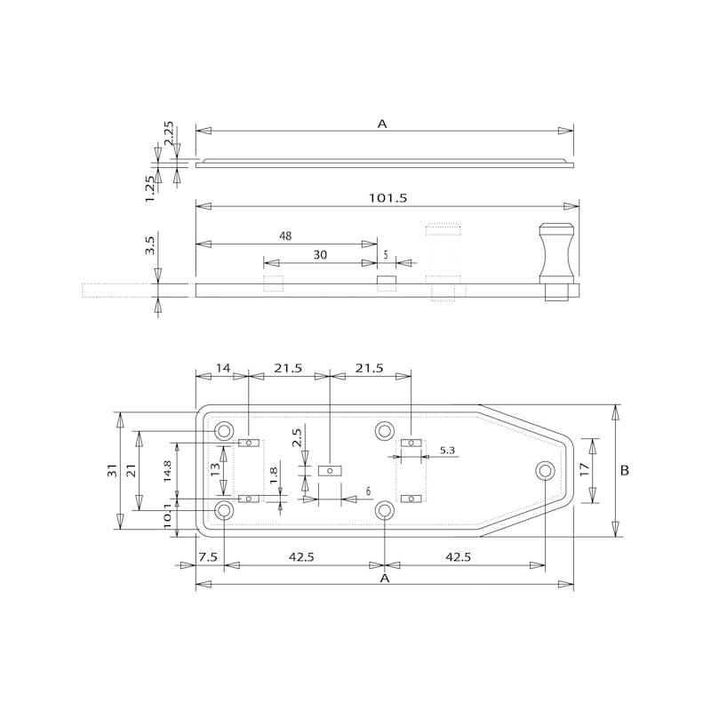 Fensterriegel - FERIGL-GERADE-ST-(ZN)-BLAU-100X35MM