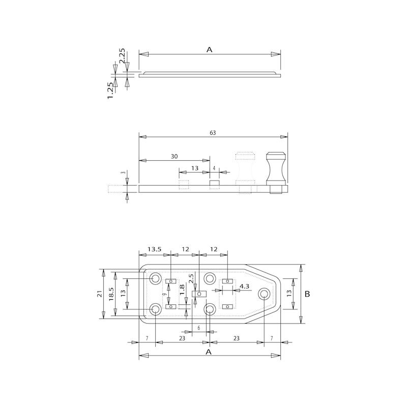 Fensterriegel - FERIGL-GERADE-ST-(ZN)-BLAU-60X25MM