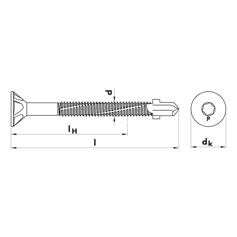 Flügel-Bohrschraube Senkkopf mit AW-Antrieb pias<SUP>®</SUP> - SHR-BSP-FLG-SEKPF-FRS-AW30-(LFR)-6,3X100