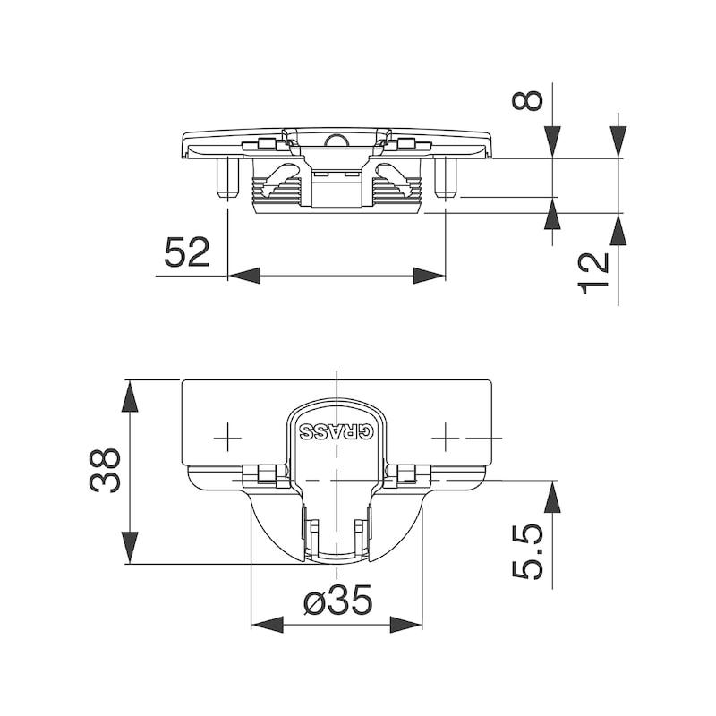 Stollenscharnier Nexis Impresso 95° - 6