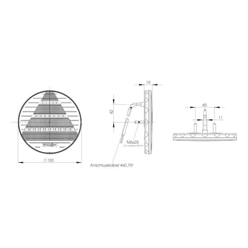 Bloc optique à 3chambres, 12V/24V - 2