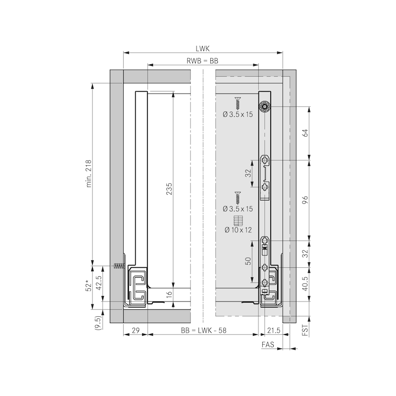 Zargen-Set Nova Pro Scala H250 - 2