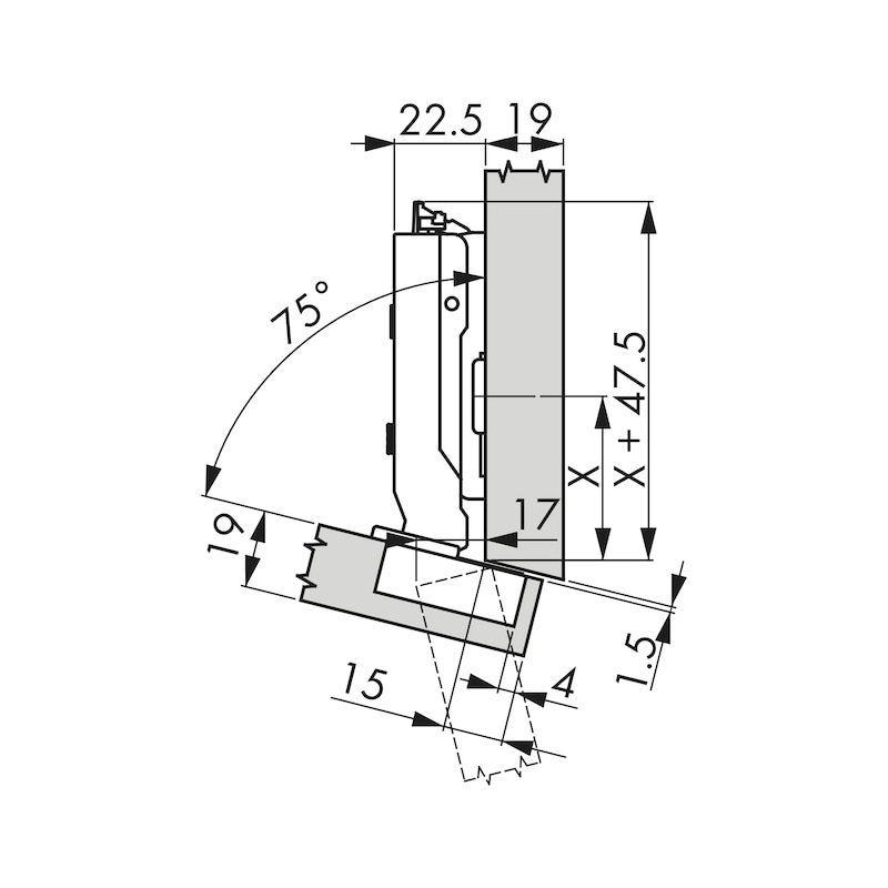 Topfscharnier TIOMOS Click-on 110 / -15 A - SHAN-T-CLICKON-120-(-15)-H-BB-AUFLG