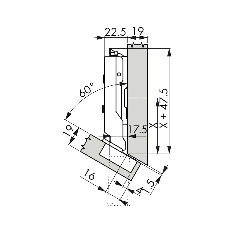 Topfscharnier TIOMOS Click-on 110 / -30 A - SHAN-T-CLICKON-120-(-30)-H-BB-AUFLG