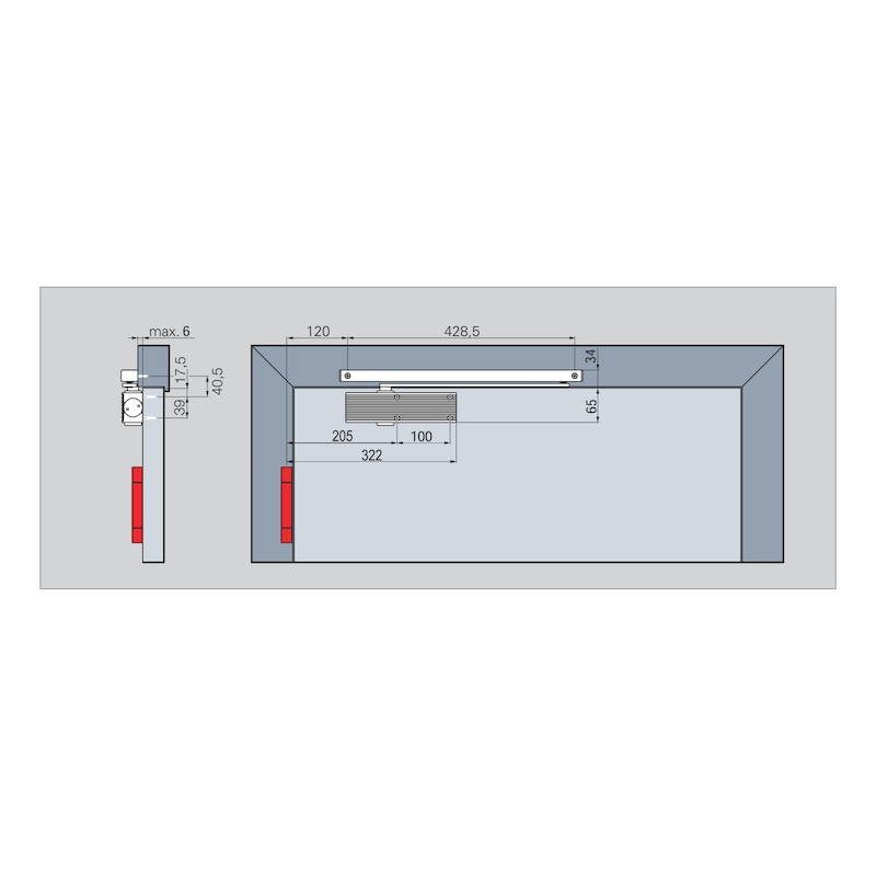 Türschließer GTS 601 mit Gleitschiene - 3