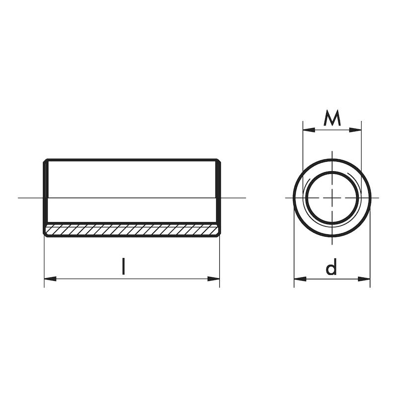 Distanzmuffe rund, Stahl verzinkt - 2