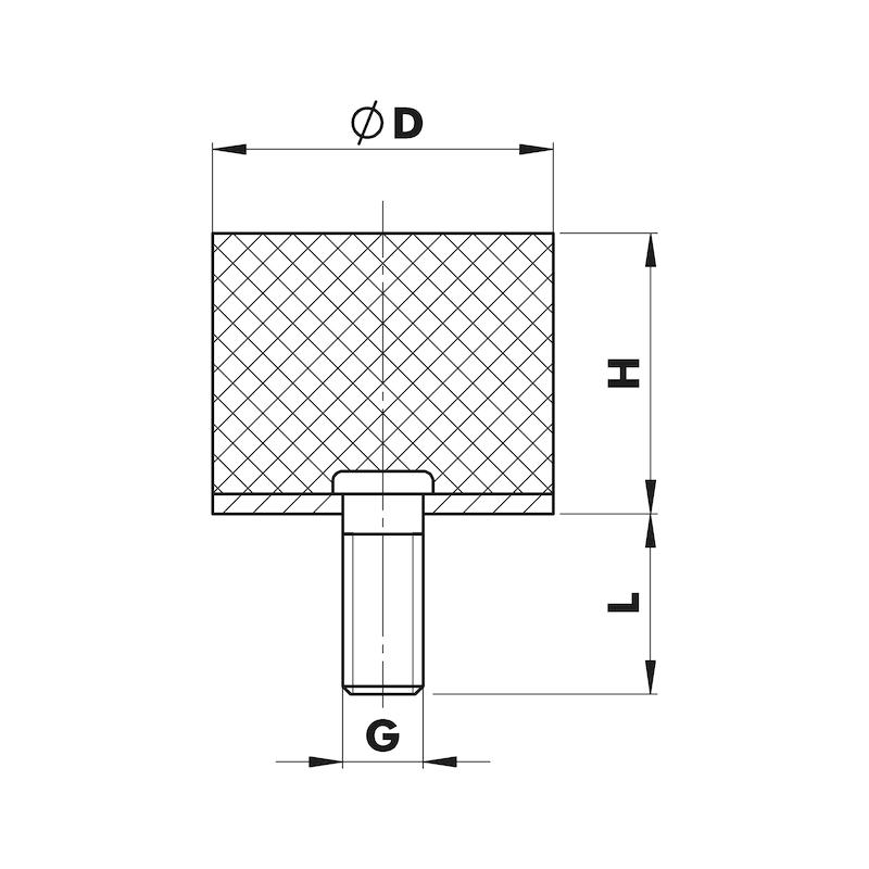 Piedino antivibrante in gomma/metallo Tipo D - C2C - PIEDINI ANTIVIBR. TIPO D   20X20 M6