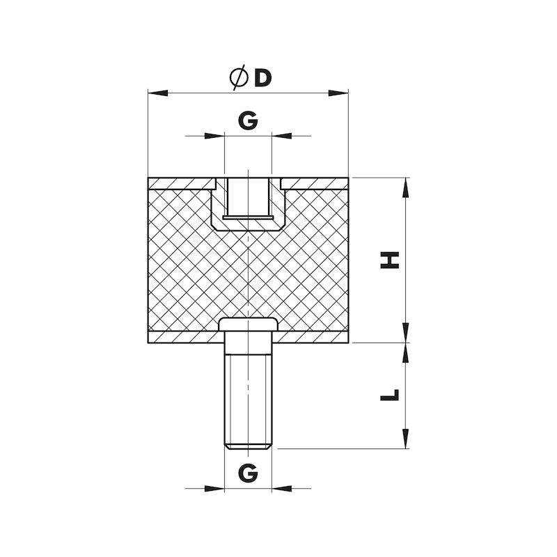 Gummi-Metall-Puffer Typ B - PUFF-GU/MET-B-50X30-M10