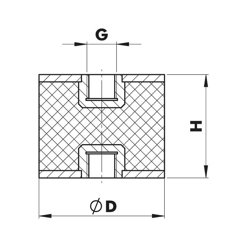 Piedino antivibrante in gomma/metallo Tipo C - C2C - PIEDINI ANTIVIBR. TIPO C   40X20 M8