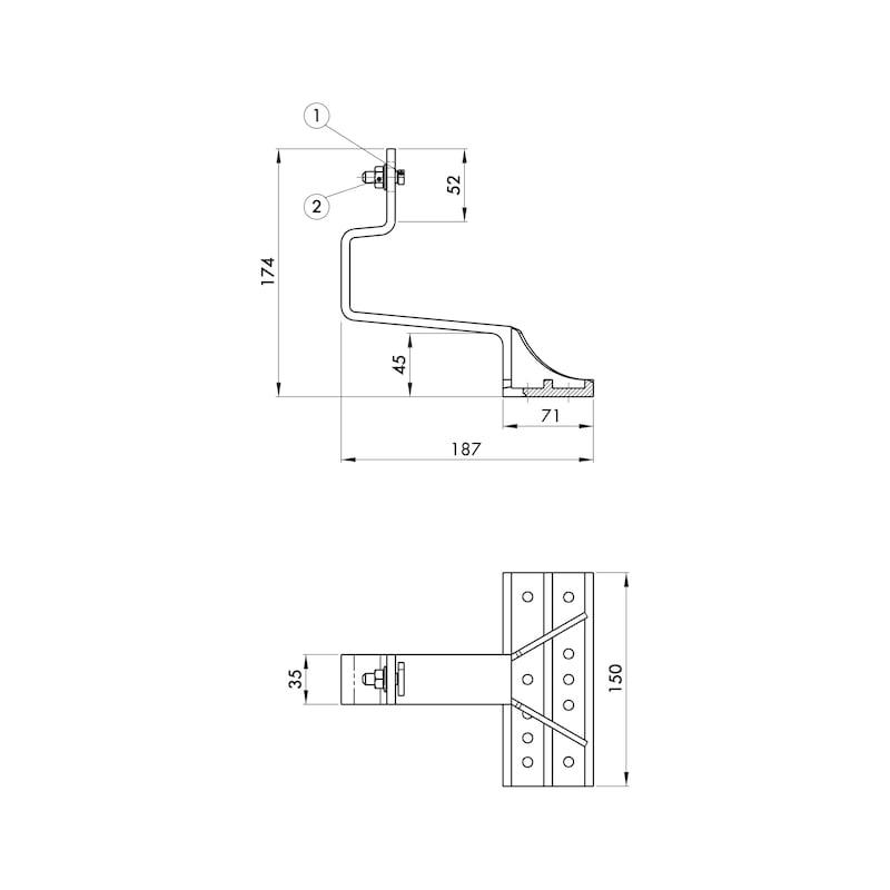 Dachhaken Schwerlast - DHAK-ALUD-SHWR-FPL150X65MM-LO11MM