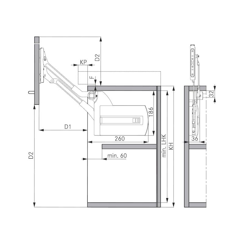 Klappenliftbeschlag  Kinvaro L-80 - KLPLFTBSHLG-KINVR-L80-389MM-(5,5-9,0KG)