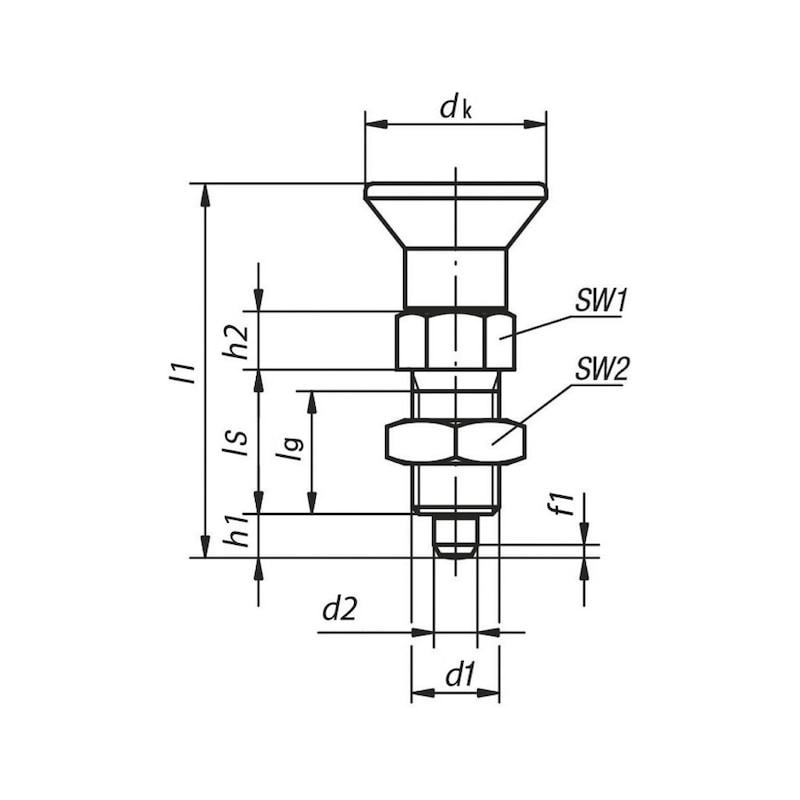 Kurzer Arretierbolzen ohne Rastnut mit Feingewinde - ARBLZ-PLZ-5.8-KURZ-M16X54