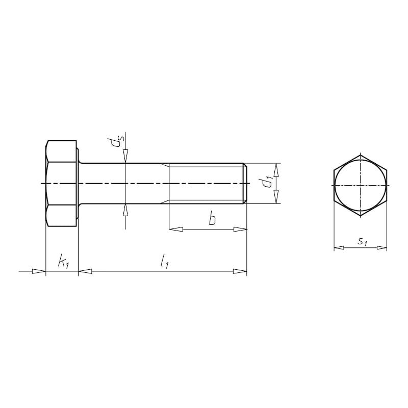 Sechskantschraube für HV Garnitur - SHR-EN14399/4-10.9-K1-SW32-(TZN)-M20X230