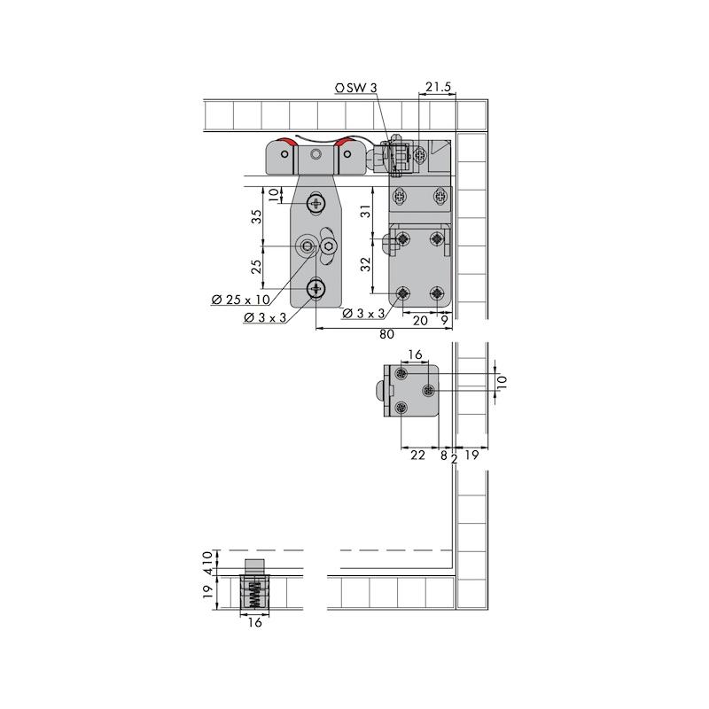 Möbelschiebetürbeschlag-Set redoslide M30-HE - 4