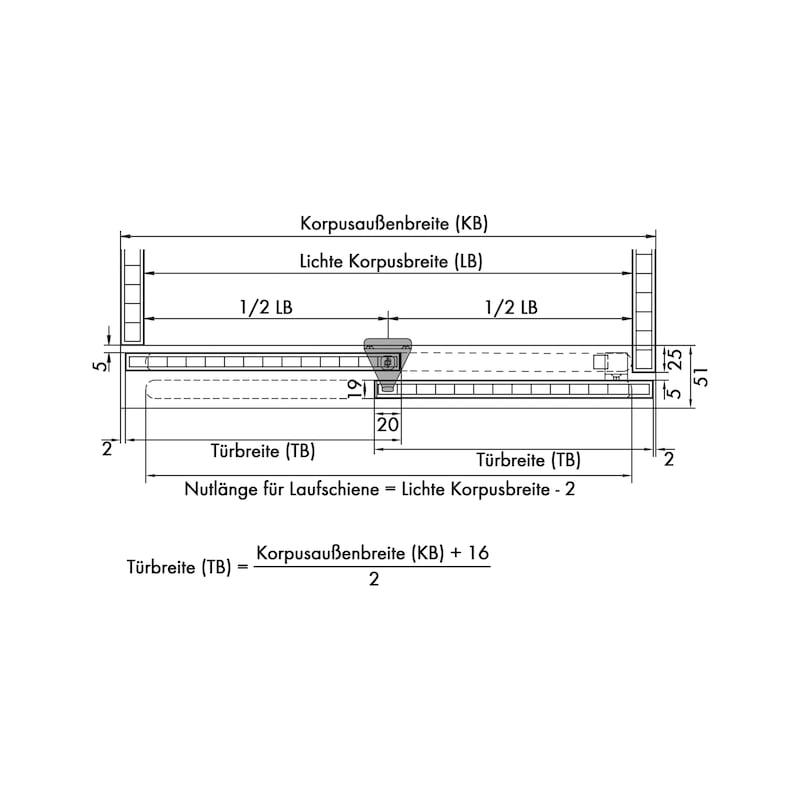Möbelschiebetürbeschlag-Set redoslide M15-HC - 2