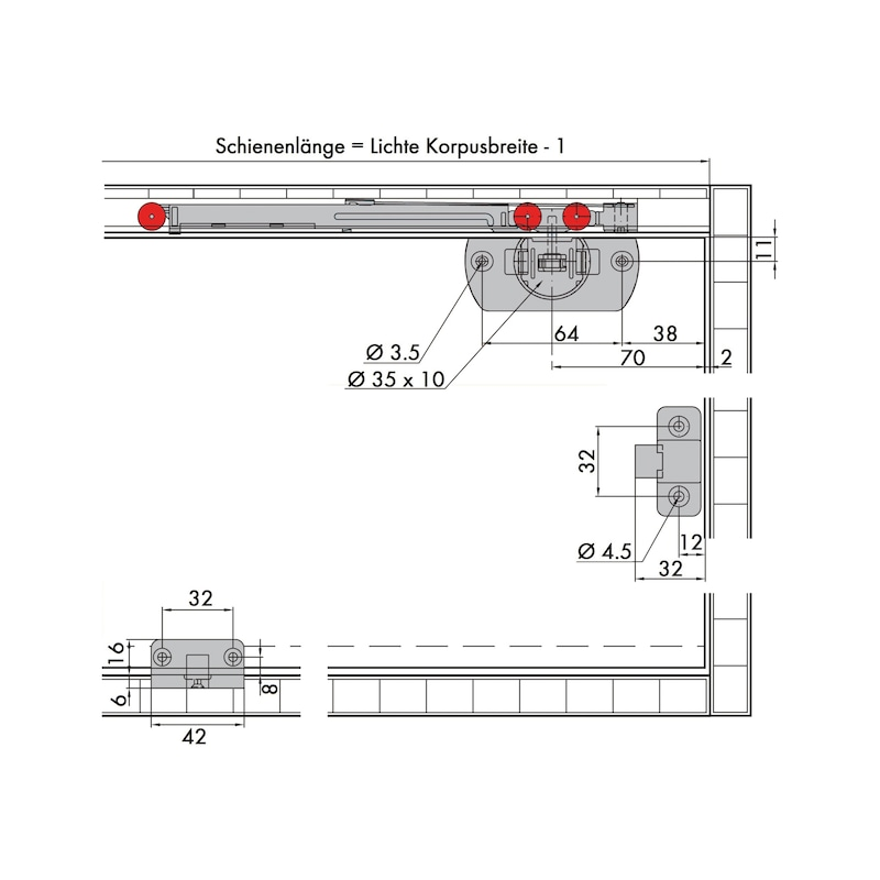 Möbelschiebetürbeschlag-Set redoslide M15-HC - 4