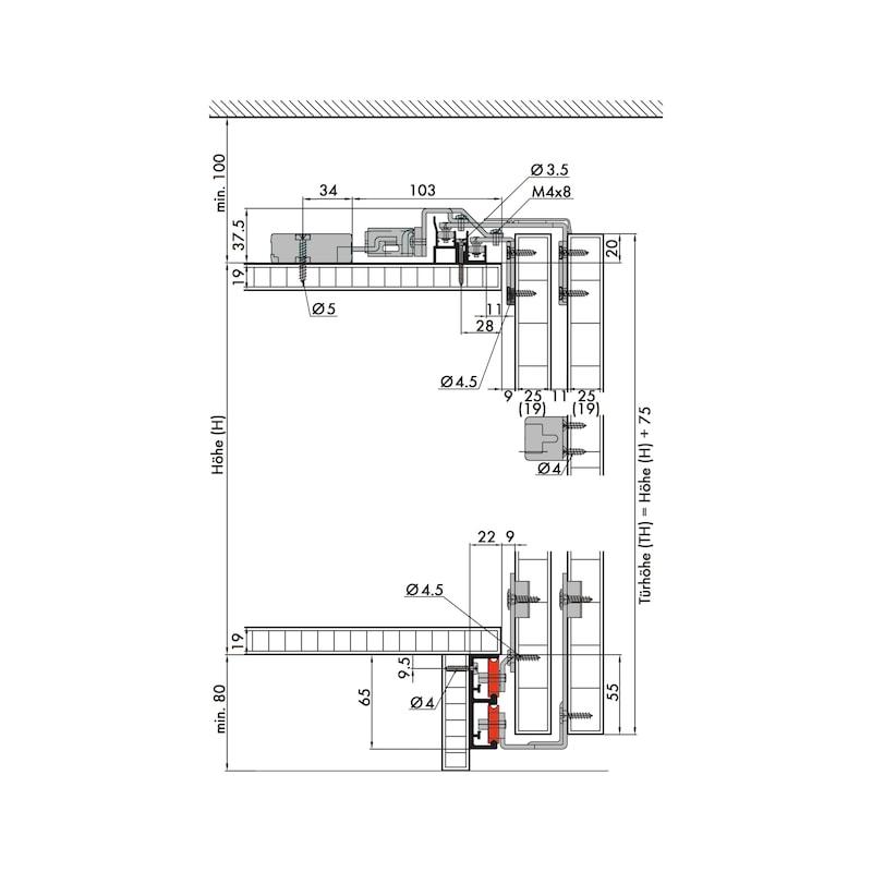 Möbelschiebetürbeschlag-Set redoslide M45-HV - 3