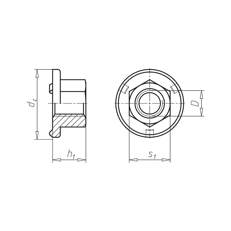 Anschweißmutter Sechskant mit Flansch - MU-SHWS-6KT-ISO21670-ST-SW16-M10