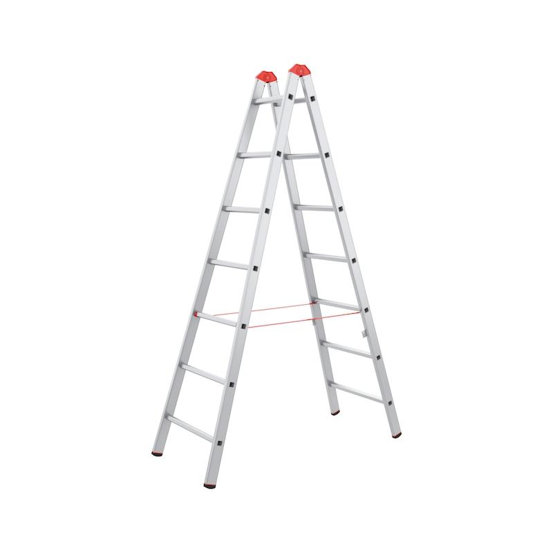 Hliníkový dvojitý rebrík so stupňami - REBRIK MALIARSKY ALU 2X7 PRIECOK