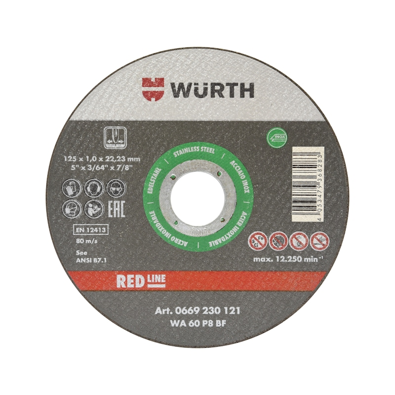 Cutting disc for stainless steel - CUTDISC-GREEN-A2-SR-TH1,0-BR22,23-D125MM