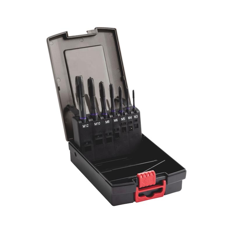 Maskinsnittap sortiment HSCo gennemgående hul DIN 371/376 M3-M12, multi-ydeevne - MASKINTAP-GEN-HSCO-MULTI-LILLA-SÆT-7STK