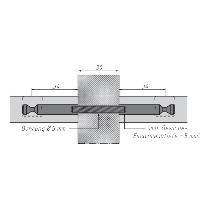 Doppelbolzen für Möbel-Verbinder SE 15 - 6