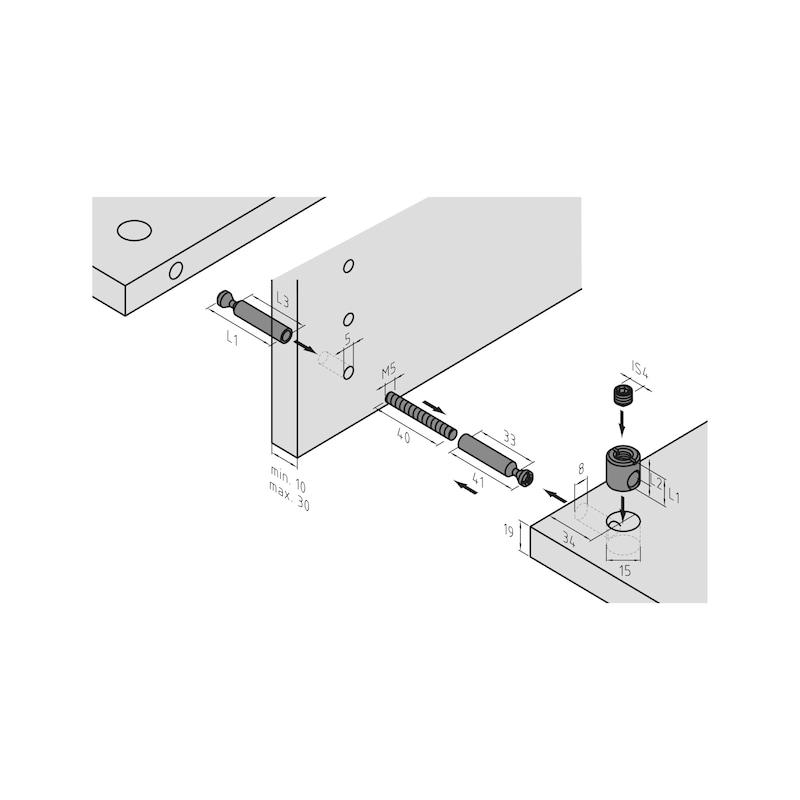 Doppelbolzen für Möbel-Verbinder SE 15 - 3