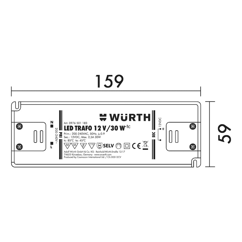 Led-veiligheidstransformator - TRAFO-LED-12V-30W-ZWART-L159XB58XH18