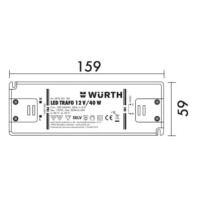 LED Sicherheitstransformator - TRAFO-LED-12V-40W-SCHWARZ-L159XB58XH18