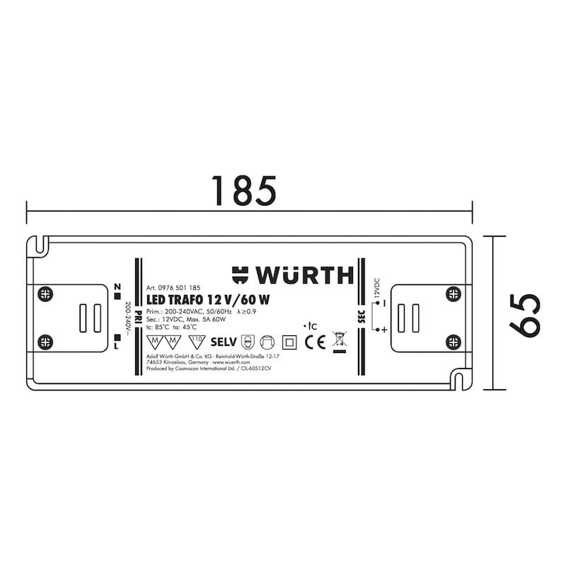 Led-veiligheidstransformator - TRAFO-LED-12V-60W-ZWART-L185XB64XH22