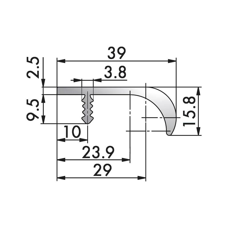 Aluminium Griffleiste Typ J - GRF-ALU-LEISTE-TYP-J-A2/FINISH-L1195MM