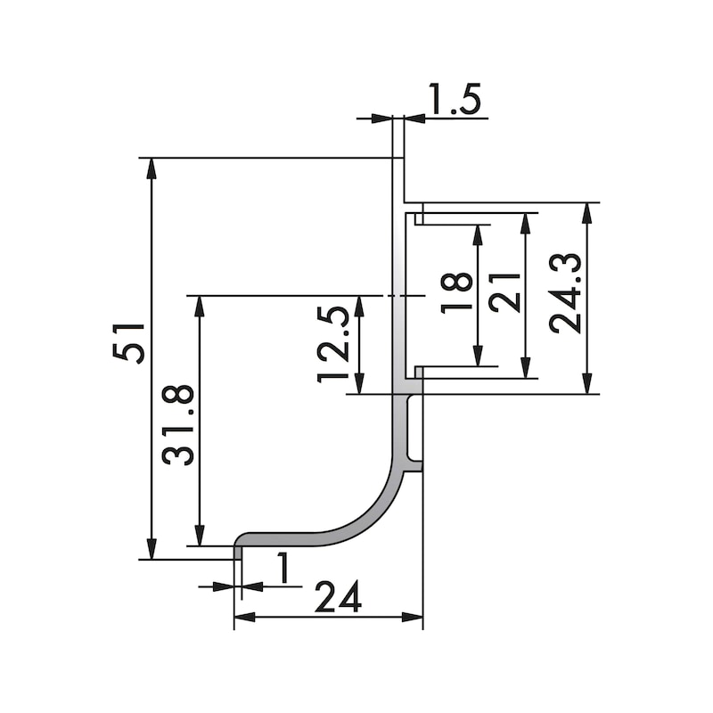 Profilo a gola orizzontale forma a L,  in alluminio - 2