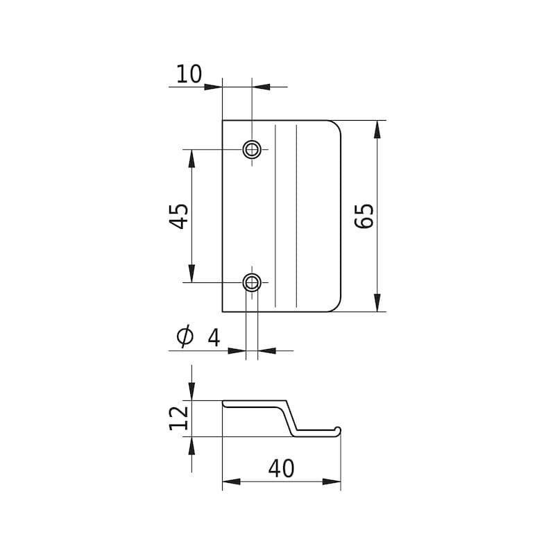 Balkontürgriff  Typ B - BALKONTRGRF-ALU-B-R9016-WEISS