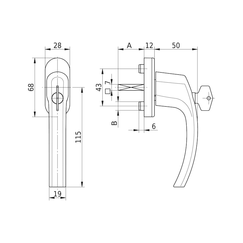 Window handle AL 420, lockable - 2