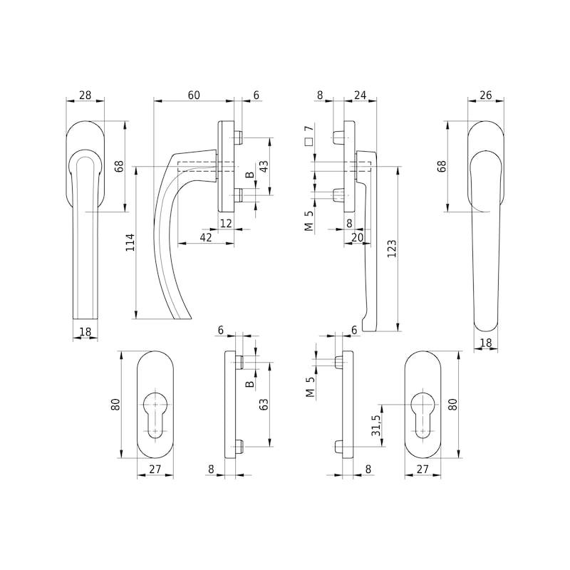 Balkontürgarnitur AL 420 flach - 2
