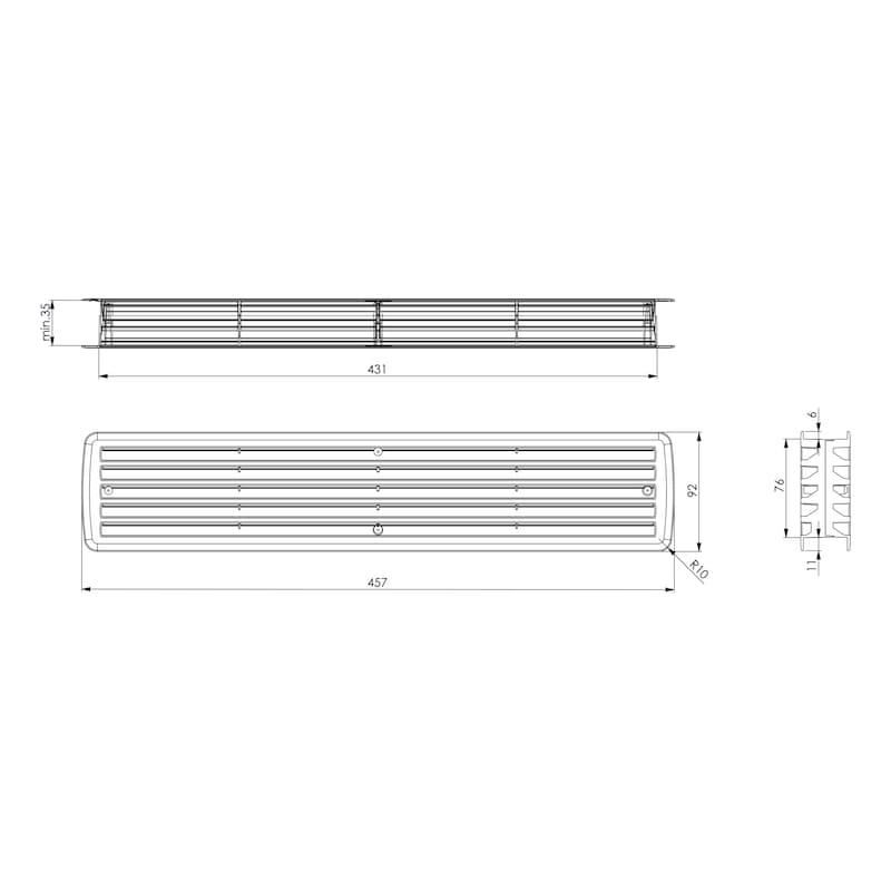 Lüftungsgitter für Zimmertüren Typ A - 2