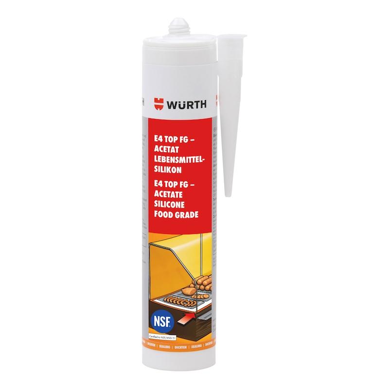 Mastic silicone pour industrie alimentaire - E4 TOP FG SILICONE ALIM TRANS 310ML
