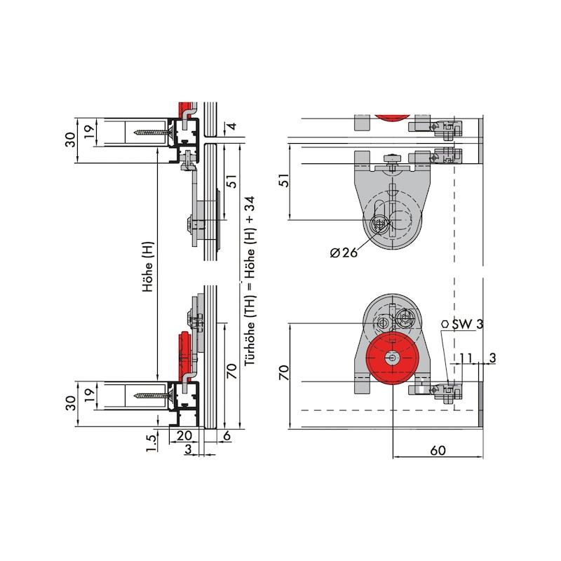 Schiebetürbeschlag-Set redoslide MR25-GKV - 2